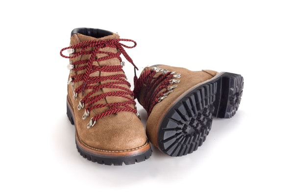 brand new hiking boots on white background
