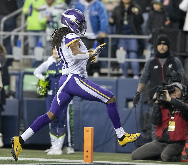 Vikings safety Anthony Harris high-stepped his way into the end zone after intercepting a pass that was tipped twice in the second quarter.