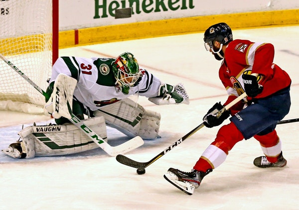 Wild goalie Kaapo Kahkonen stopped the Panthers' Vincent Trocheck in the first period Tuesday. Kahkonen made a team rookie record of 44 saves in the W