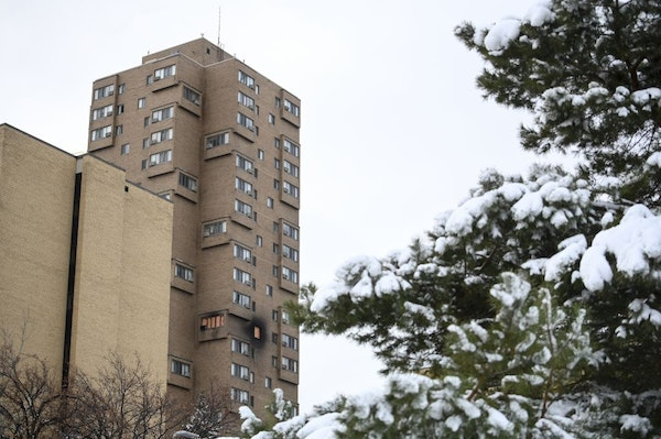 The high rise at 630 Cedar Avenue where an early morning fire left five dead.