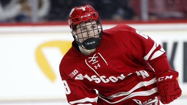 Cole Caufield, a first-round NHL draft pick for Montreal, leads Wisconsin with nine goals.