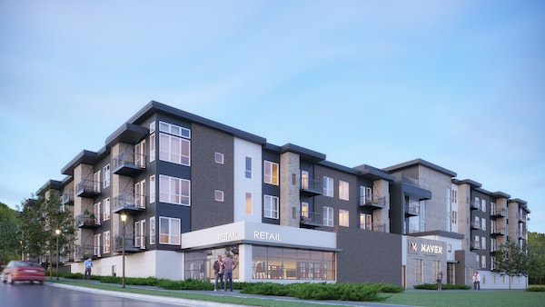 Rendering of Maven Apartments, a $23 million complex being built by Roers Cos in Burnsville.