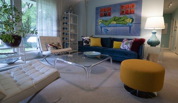 """Midcentury modern meets '70s glam,"" in interior designer Cy Winship's rambler in Golden Valley."