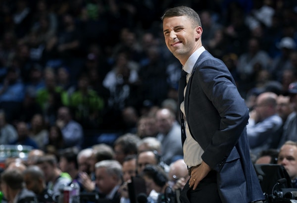 Timberwolves coach Ryan Saunders flashed a smile in the first quarter Sunday at Target Center.