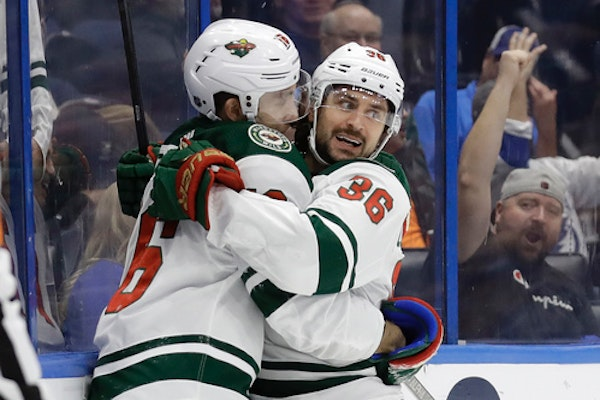 The Wild's Mats Zuccarello, right, celebrated with Jason Zucker after scoring the go-ahead goal in the third period of Minnesota's 5-4 victory over Ta