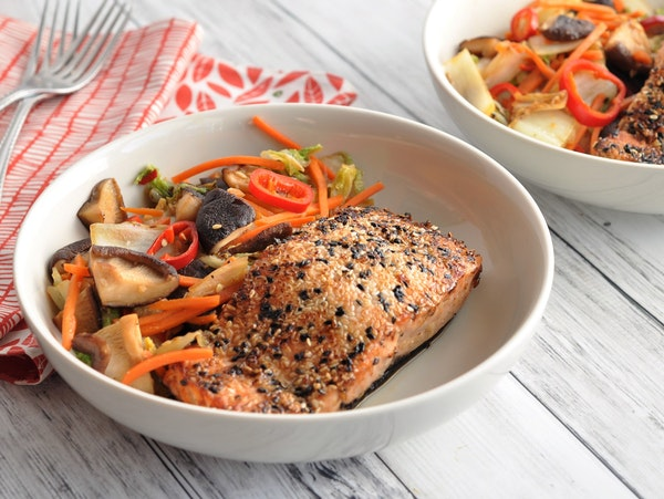 Recipe: Sesame-Seared Salmon With Spicy Stir-Fried Vegetables