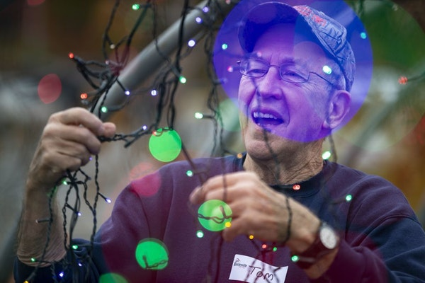 Tom Mesojedec travels from Tower, MN to help set up the lights at Bentleyville each year. He has been one of the people that has helped with the setup