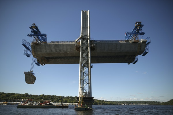 A segment was lifted from a barge beneath pier 9 of the St. Croix Crossing when it was under construction in 2015 on the St. Croix River near Stillwat