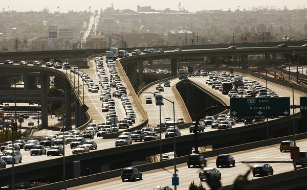 Los Angeles traffic on the 105 freeway near the 405 interchange in Southern Calif. California and other states are suing the Trump Administration over