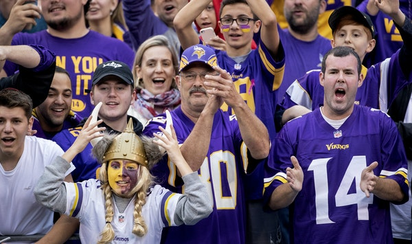 This could be U.S. Bank Stadium — but it's not. This is a section of Vikings fans cheering on their team against the New York Giants on Oct. 6 at