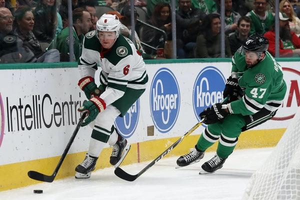 Ryan Donato of the Wild was shadowed by Alexander Radulov (47) of the Stars during a game in Dallas on Oct. 29.