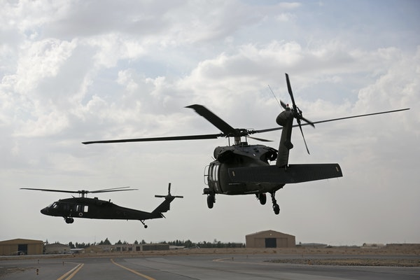 UH-60 Black Hawk helicopters at Kandahar Air Field, Afghanistan.