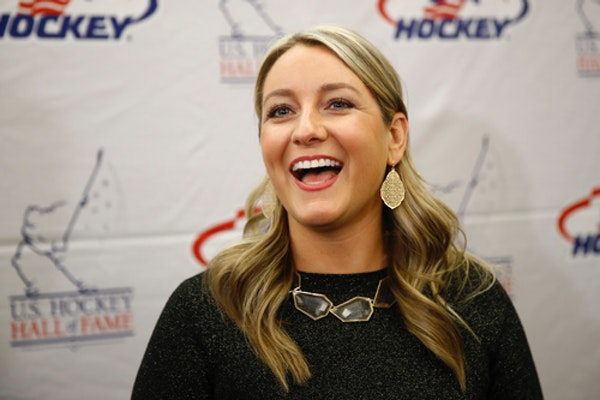 Krissy Wendell spoke to reporters before being inducted into the U.S. Hockey Hall of Fame on Thursday in Washington.