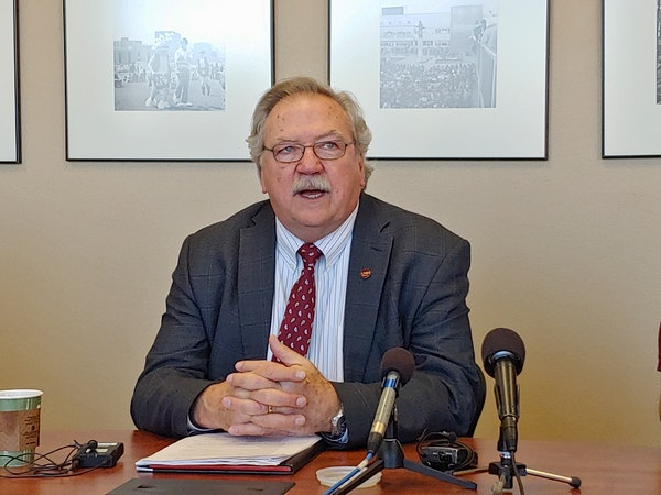 University of Minnesota Duluth Chancellor Lendley Black annoucing $5.2 million in budget cuts at a Dec. 4 news conference.