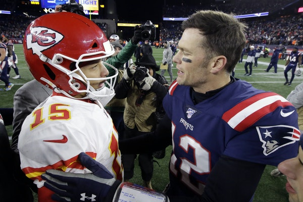 Patrick Mahomes and Tom Brady met after Kansas City's victory in Foxborough, Mass., on Sunday.