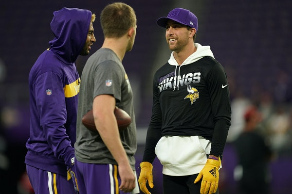 Vikings wide receiver Adam Thielen wore street clothes during warmups and sat out the game Oct. 24 vs. Washington.