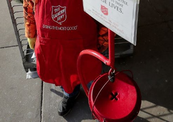 Salvation Army officials believe there is one person — identity unknown — who has been gathering up $100 bills and putting them in bell ringers'