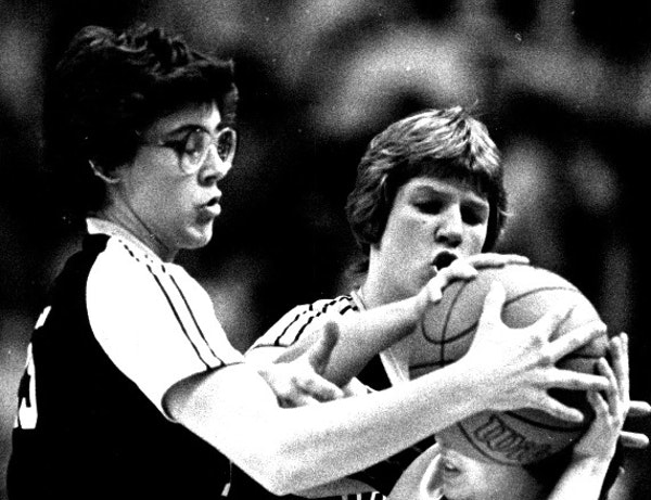 Annie Adamczak Glavan, left, was the 1982 Miss Basketball as a senior at Moose Lake, where her basketball, volleyball and softball teams all went unde