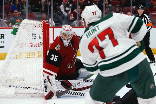 Wild defenseman Brad Hunt scored from an almost impossible angle against former Wild goalie Darcy Kuemper in the thrid period, the first of four Wild
