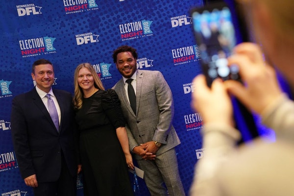 Corey Day, right, then executive director of the DFL Party, with DFL Chairman Ken Martin and staffer Heidi Kraus Kaplan on election night in 2018.