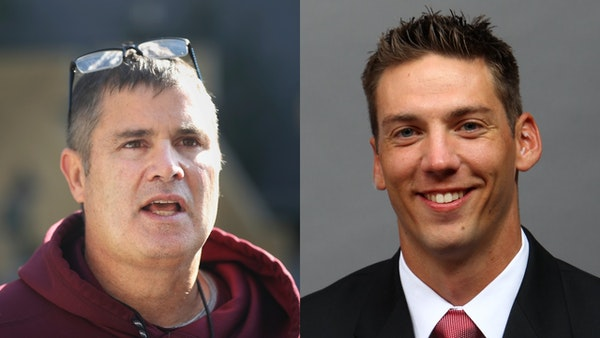 With Kirk Ciarrocca (left) leaving for a job at Penn State, Matt Simon will become the Gophers' interim offensive coordinator for their Outback Bowl g