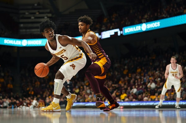 Guard Marcus Carr, shown here vs. Central Michigan last month, has scored 24 and 35 points in the Gophers' past two home games — wins vs. Clemson