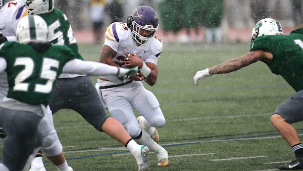 Minnesota State Mankato running back Nate Gunn took a handoff during last weekend's NCAA Division II semifinal at Slippery Rock, when he ran 15 times