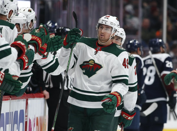 Wild center Victor Rask, above being congratulated after his go-ahead goal against the Avalanche on Friday, is producing on the fourth line.