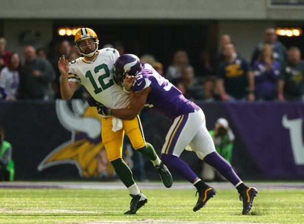 Green Bay quarterback Aaron Rodgers left the game after a hit on this play by Vikings outside linebacker Anthony Barr in 2017.