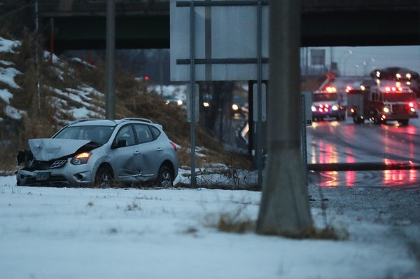 Ice covered roads causing multiple crashes shut down a stretch of I-169 south of Highway 55 early Saturday, Dec. 28, 2019, in Plymouth, MN, as roadway