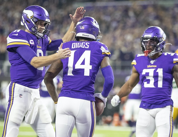 Kirk Cousins congratulated Stefon Diggs after his TD catch in the second quarter vs. the Packers on Monday night, but that was the Vikings' one high