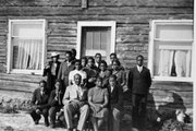 """Hosiah """"Hosey"""" P. Lyght with his wife, Stella, and their children in front of the family's home in Lutsen, Minn., in about 1940. Lyght grew up i"""