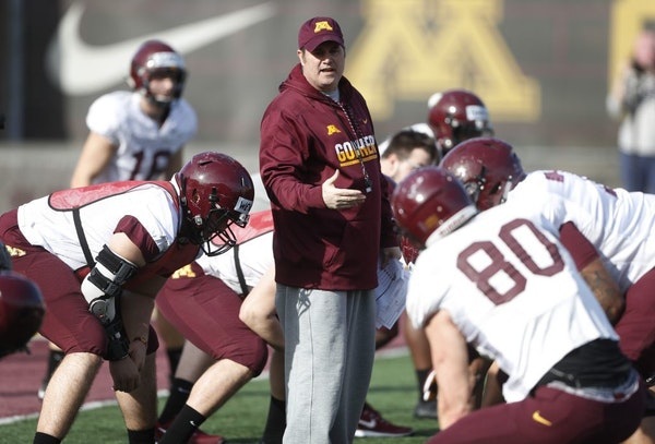 Kirk Ciarrocca watched over the offense during a Gophers football practice.