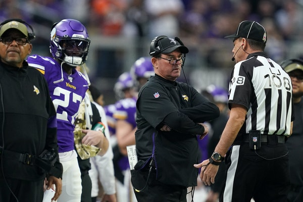 Vikings coach Mike Zimmer remains annoyed by what replay officials decide is or isn't pass interference this season.