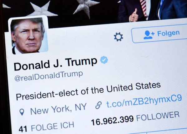 President Donald Trump's Twitter account from when he was elected president.