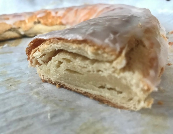 """Almond kringle baked from """"Midwest Made"""" recipe."""