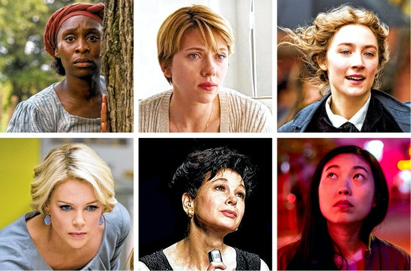 Best actress nominees Cynthia Erivo, Scarlett Johansson, Saoirse Ronan, Charlize Theron and Renee Zellweger. Awkwafina missed the cut.
