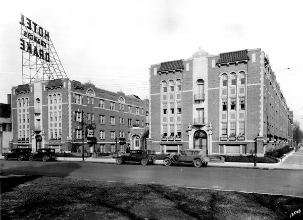 """The Francis Drake Hotel in Minneapolis (shown circa 1931) opened in 1924 and cost """"nearly One-Half Million Dollars."""""""