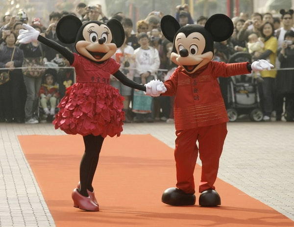 Minnie Mouse and Mickey Mouse, shown in 2008.