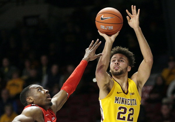 Gophers guard Gabe Kalscheur (shown against Ohio State on Dec. 15) broke out of a shooting slump with 34 points against Oklahoma State on Saturday.