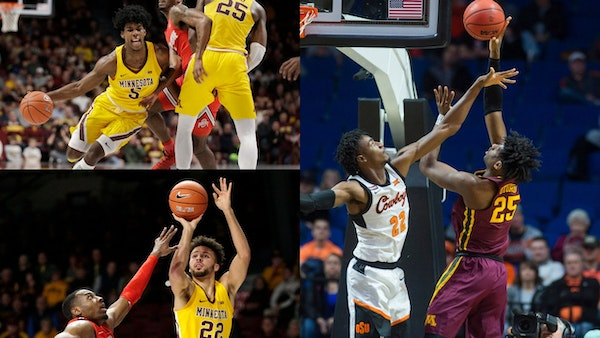 (Clockwise from right) Gophers sophomores Daniel Oturu, Gabe Kalscheur and Marcus Carr are the highest-scoring group of three players on one Big Ten t