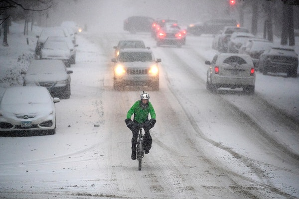 A snowstorm made for a difficult morning commute in St. Paul in December.