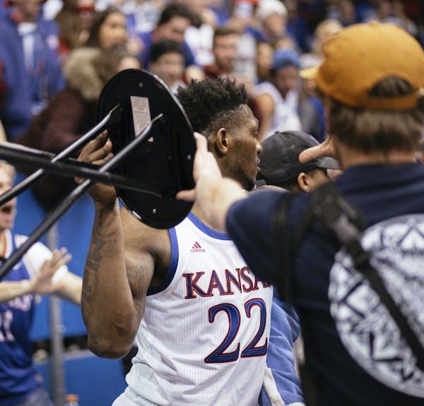 Silvio De Sousa's brandishing a stool will be a lasting image from Tuesday night's Kansas-Kansas State brawl.