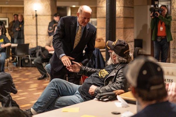 Senate Majority Leader Paul Gazelka met with members of the Minnesota Gun Owners Caucus in April. GOP lawmakers will gather in Hibbing on Tuesday to d
