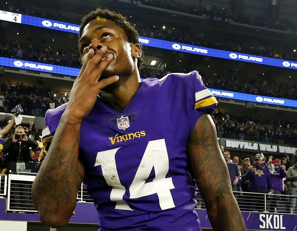 Vikings receiver Stefon Diggs celebrated after his 61-yard touchdown beat the Saints two years ago.