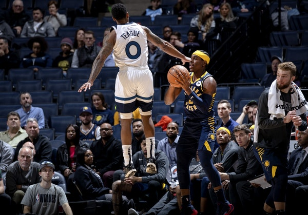 Jeff Teague (0) played his final game for the Wolves on Wednesday night against Indiana.