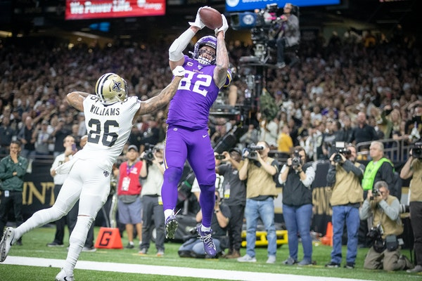 Vikings tight end Kyle Rudolph caught the winning touchdown over New Orleans cornerback P.J. Williams in overtime.