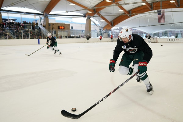 Matt Dumba and the Wild practiced outdoors on Jan. 2 at the ROC in St. Louis Park. Dumba has donated $11,200 to help Australians battling the fires in