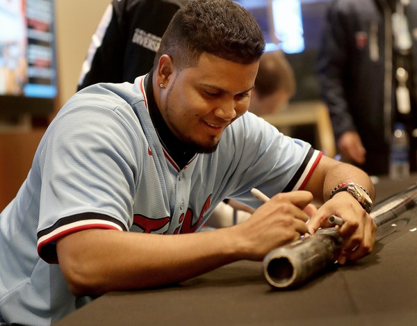 Twins infielder Luis Arraez signed autographs during TwinsFest 2020 on Friday