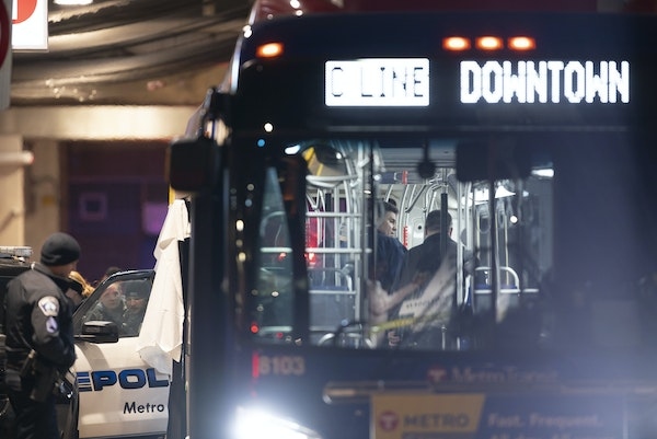 Minneapolis police investigated after two people were shot on a Metro Transit bus.